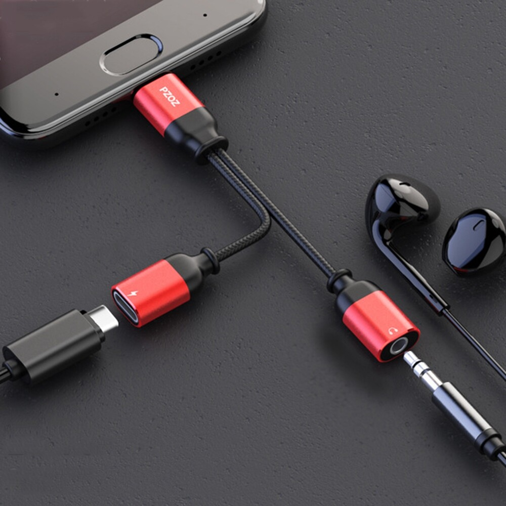 Mobile Cable & Chargers - PZOZ 2 In 1 Type C male to 3.5mm Jack Earphone Adapter AUX Audio Type-C - RED 2 IN 1 / RED / BLACK 2 IN 1 / BLACK / SILVER 2 IN 1