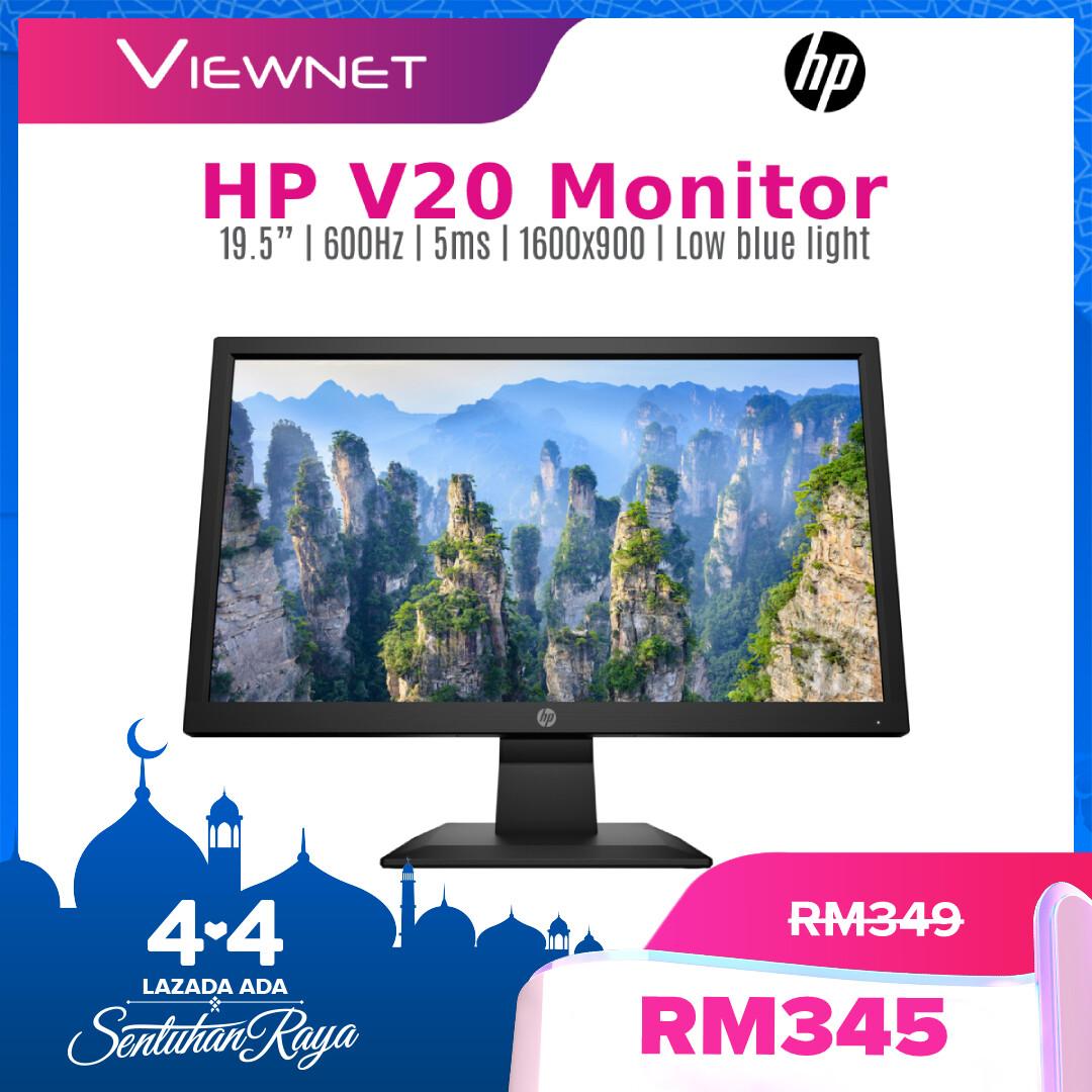 HP Monitor V20 19.5-inch LED Backlit HD+ Monitor Anti Glare (1H849AA) Support CCTV Camera