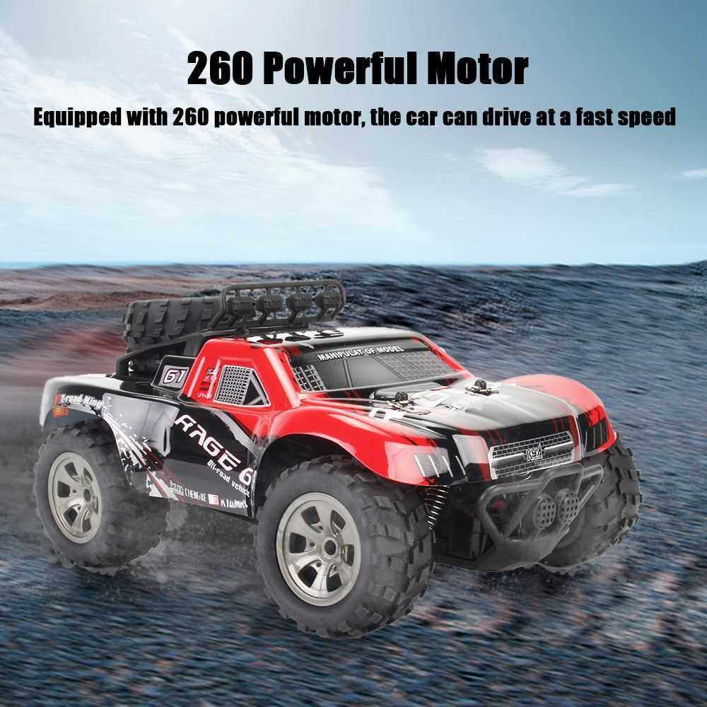 KY-1885A 2.4GHz 1/18 2WD Big Wheel RC Car Off-Road King Short Truck for Kids Beginners (Red)