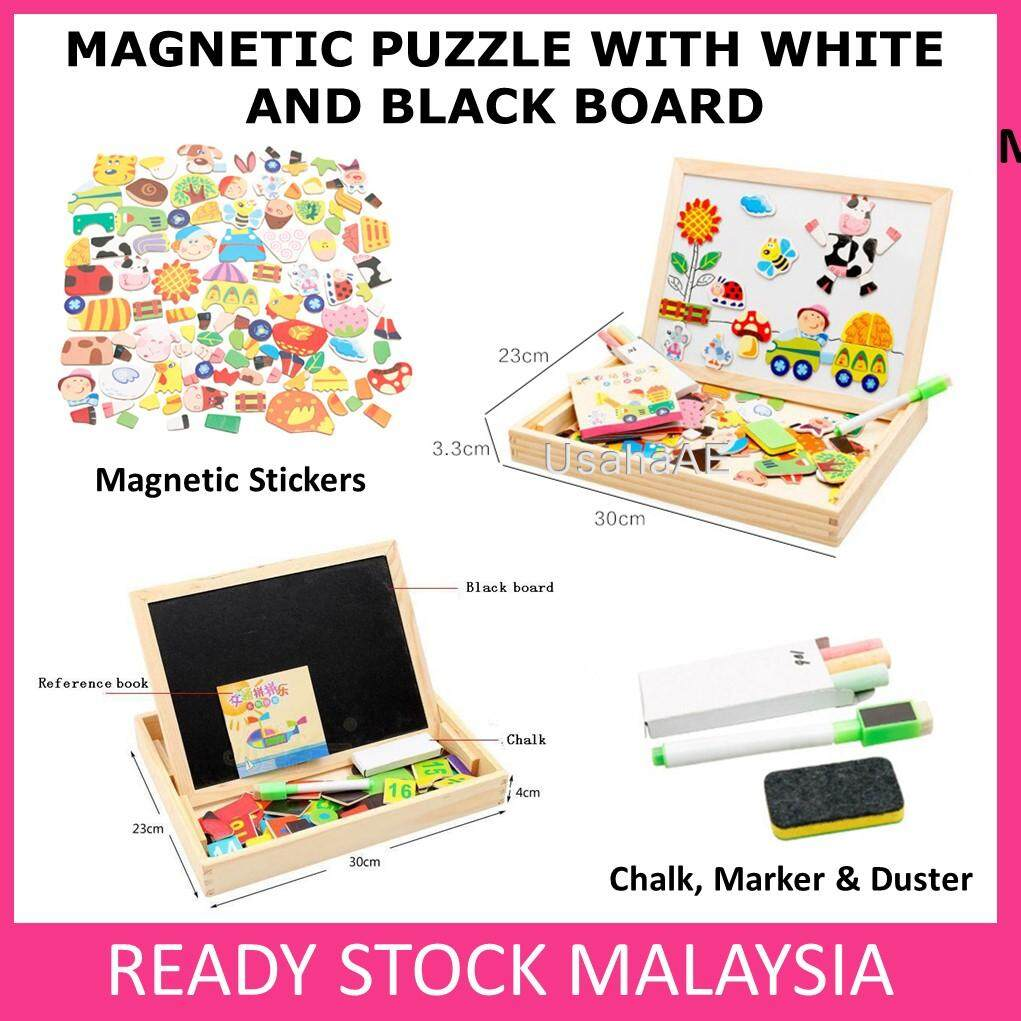 Magnetic Puzzle White Board Black Board Wooden Magnet Puzzle Learning Toy toys education