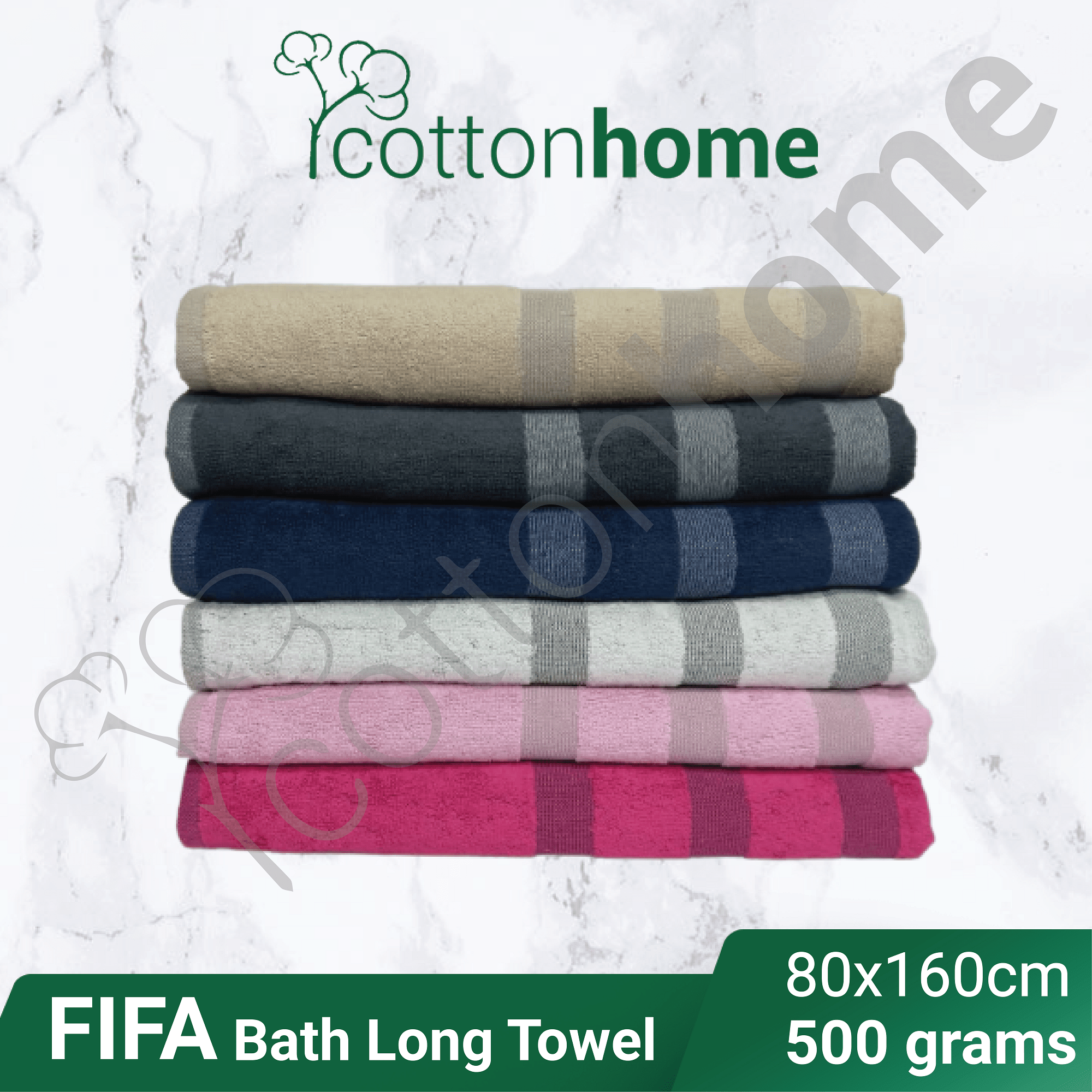FIFA LONG TOWEL Adult Bath Towels :550grams  Extra Large towel Bath Shower : Bath Towel: 80X160 Extra Long Towel Mandi tuala mandi besar untuk dewasa