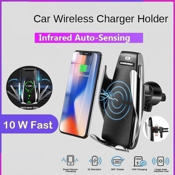 10W 360 Degree Rotation Automatic Clamping WIRELESS Car Charger Mount Android