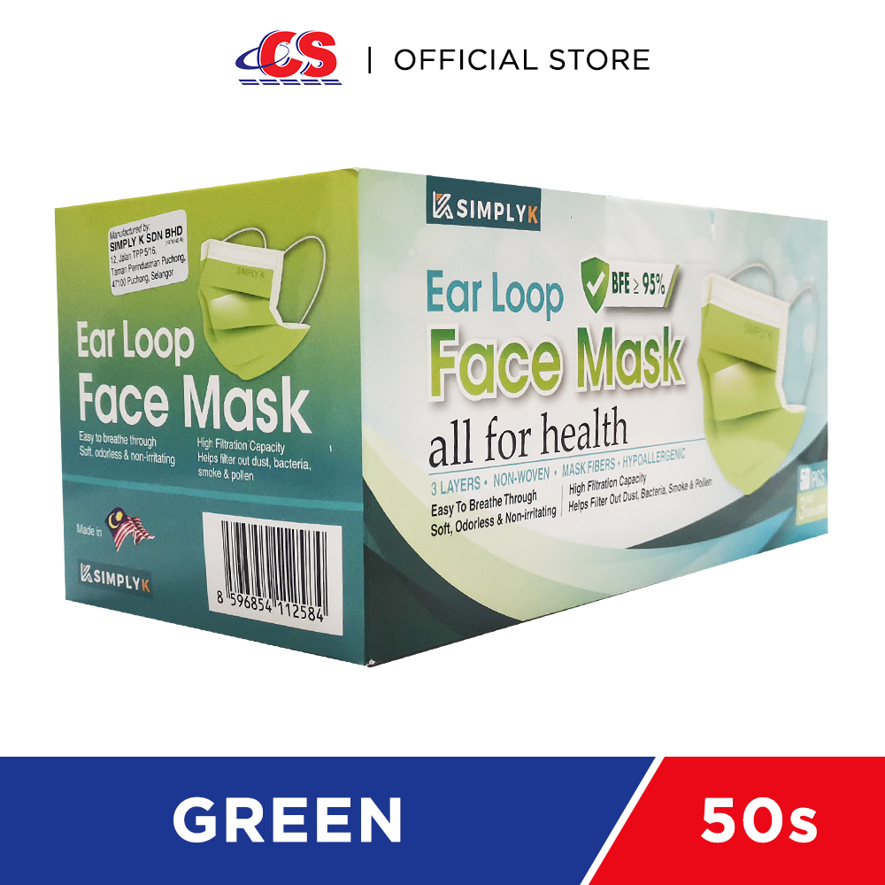 SIMPLY K 3PLY Ear Loop Adult Face Mask Green 50s