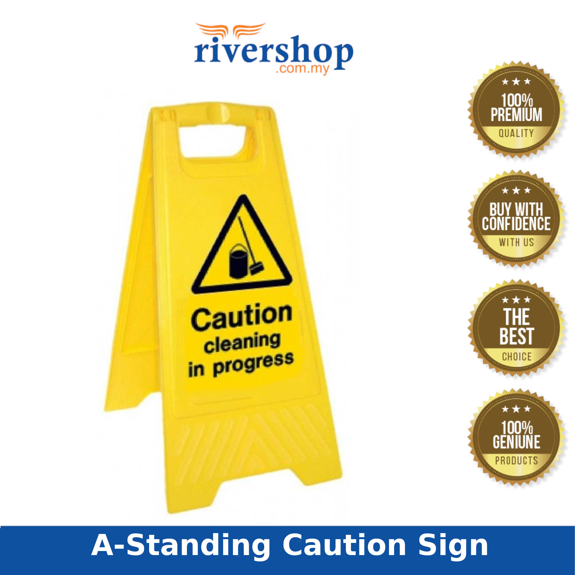 A-Standing Caution Sign / Yellow Foldable Floor Sign Board Stand / Caution Sign Board / Industrial Floor Signage - Cleaning In Progress