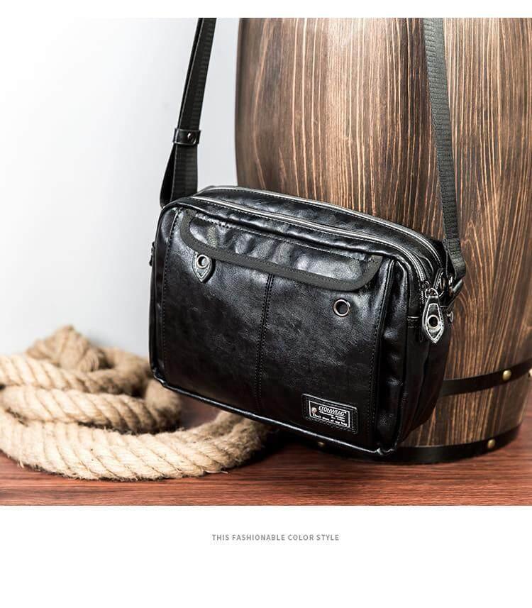 [M'sia Warehouse Direct] 2020 Korean Series Leather Men's Sling Bag Messenger Bag Cross Body Multifunction Casual Shoulder Pouch Handcarry Bag Lightweight Travel Bag Multipurpose Best Gift For Love One Kulit Halal
