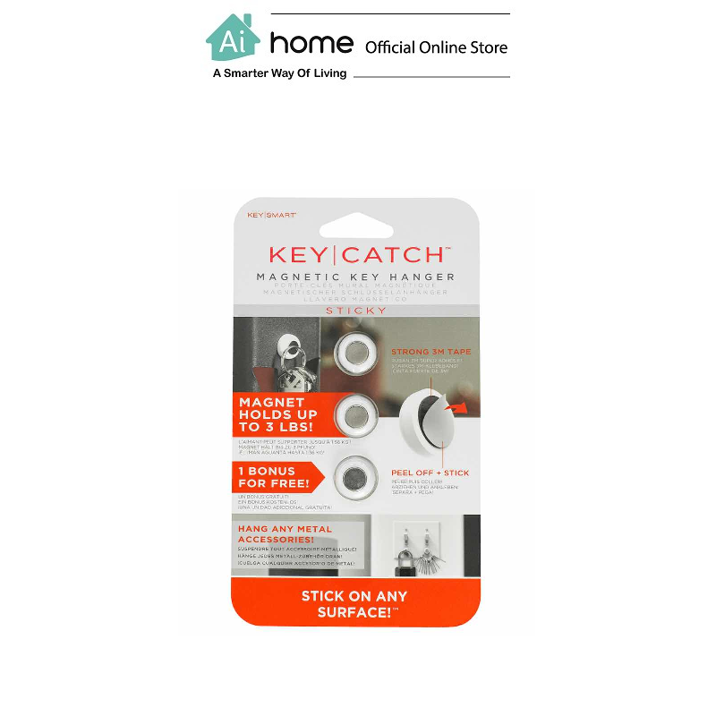 KEYSMART KeyCatch Sticky Magnetic Key Rack,Adhesive,3 Pack + Easy Install [ Ai Home ] KEYSMART Sticky