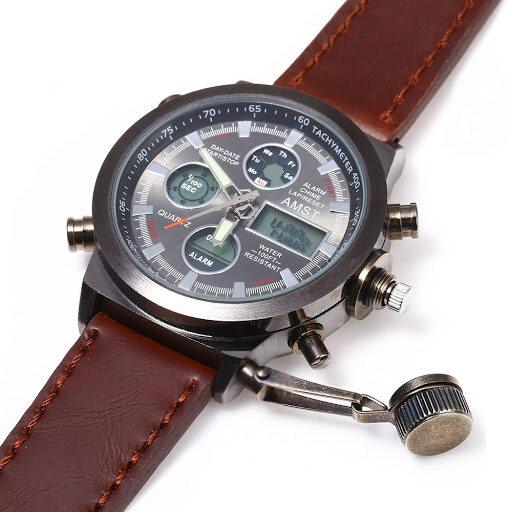AMST Military Watches Nylon&Leather Strap LED Men Quartz Watch