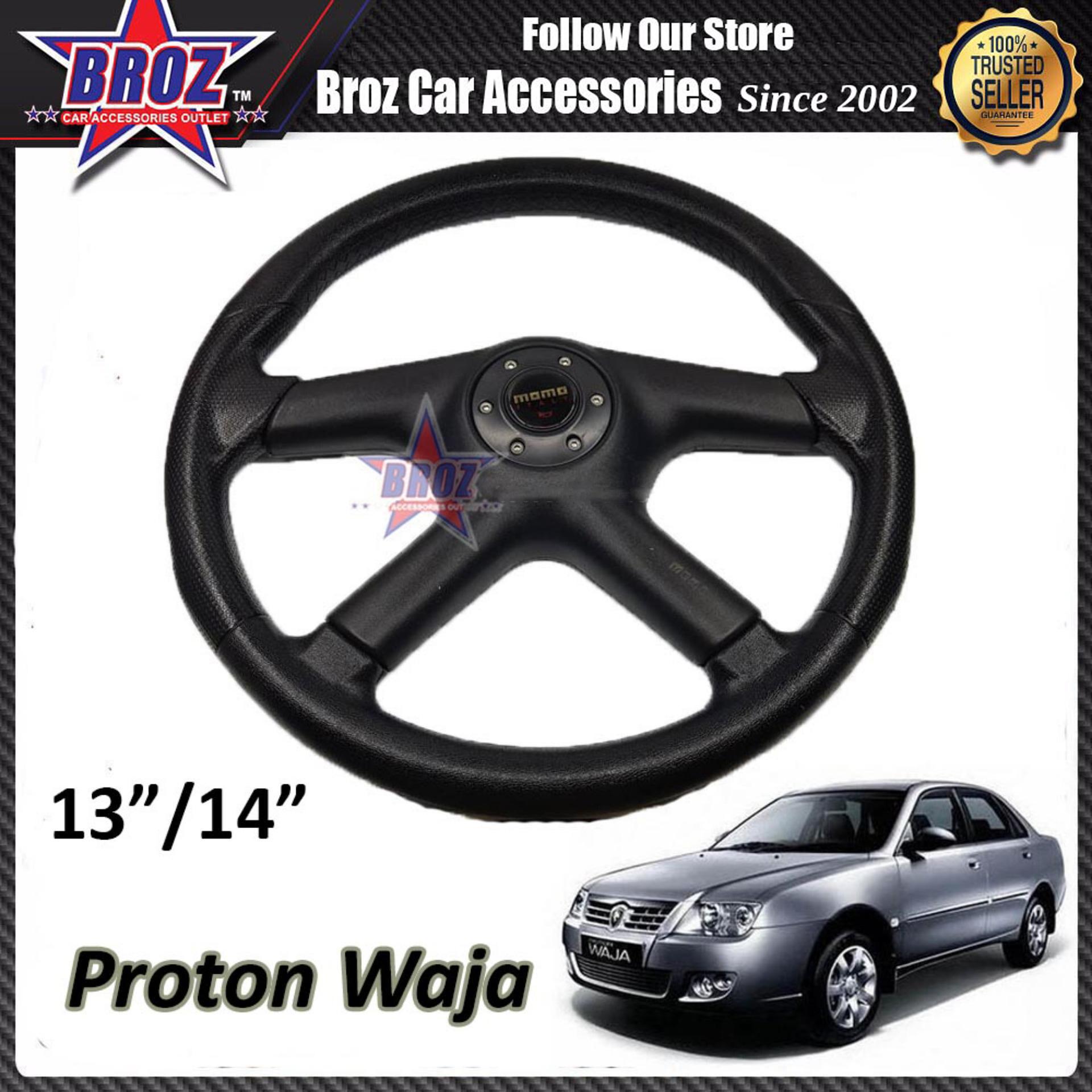 Waja 13  Inch Momo Premium Black Steering + Wheel Hub Adapter Boss Kit