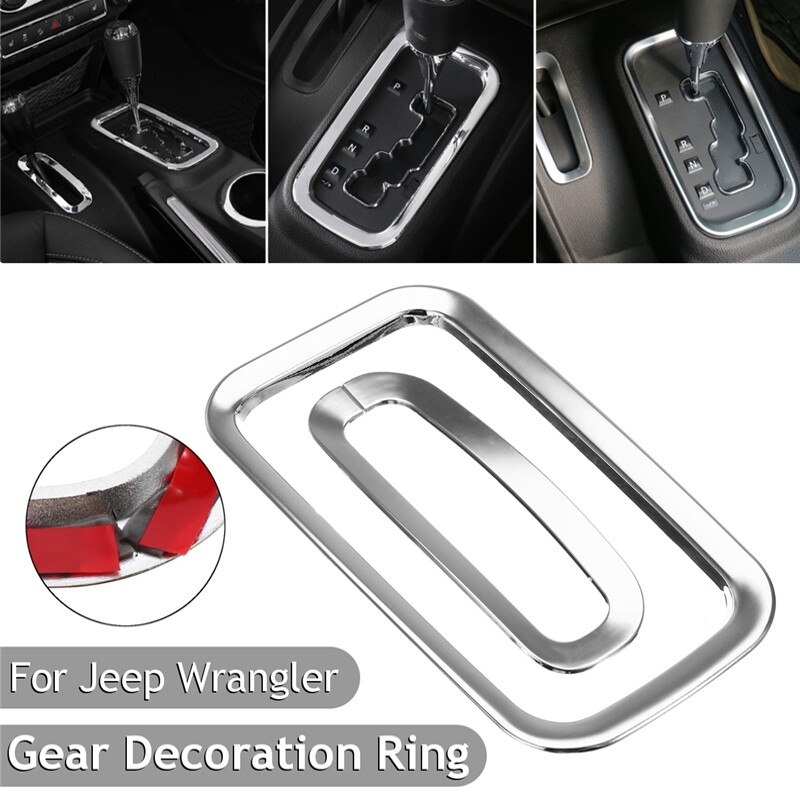 Automotive Tools & Equipment - Sliver Car Gear Shifter Knob Surround Frame Cover Ring Decor For JEEP Wrangler - Car Replacement Parts