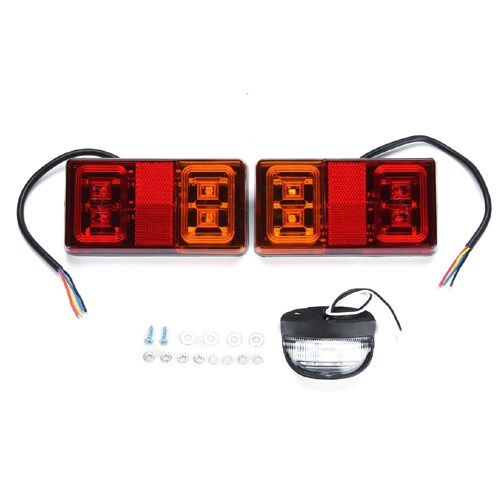 Car Lights - 1 Pair LED Tail Brake Stop Light Trailer Car Truck Boat w/ Number Plate Lamp - Replacement Parts