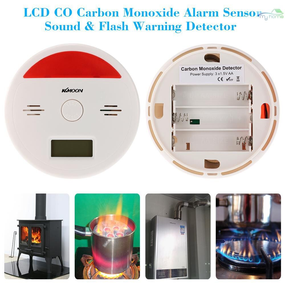 Sensors & Alarms - LCD CO Carbon Monoxide Alarm Sensor Poisoning Smoke Gas Tester Sound & Flash Warning Detector - #