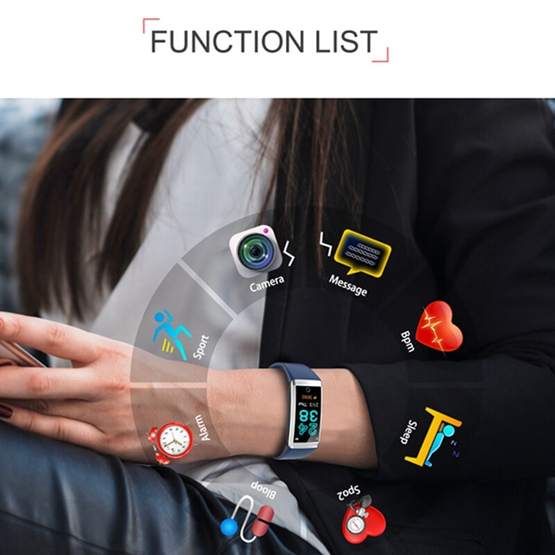 Smart Watch - BLUETOOTH Touch Screen Color Smart Bracelet Wristband Tracker for Android Black - RED / BLUE / BLACK