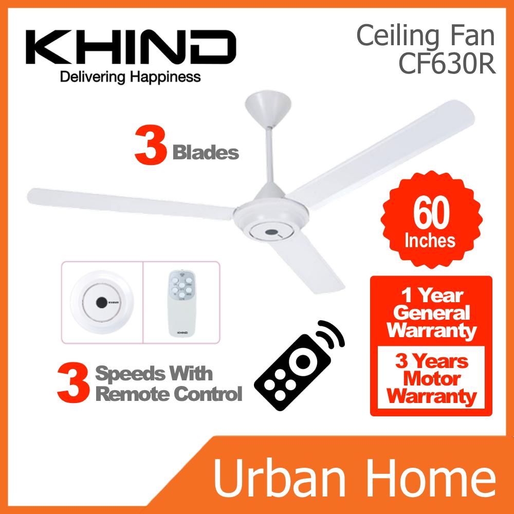 "[2 UNITS] KHIND 60"" 3 Blades Remote Control Ceiling Fan Kipas Siling (CF630R)"