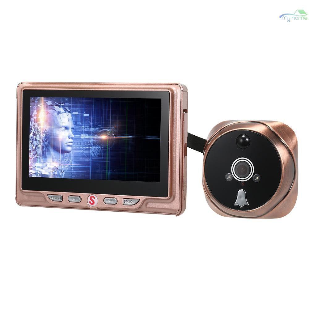 Security & Surveillance - 4.3inch Night Visible Peephole Viewer Doorbell Battery Operated(External) Door Viewer 120 Degree - ROSE GOLD-EXTERNAL