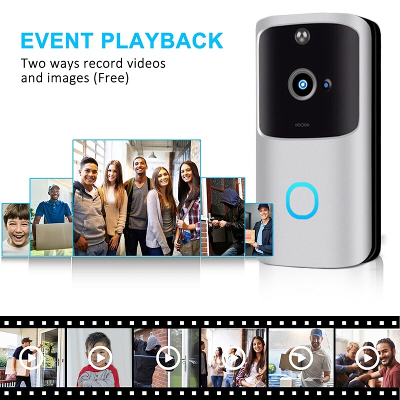 Sensors & Alarms - Home Safe HD 1080P WIFI WIRELESS DoorBell With Indoor Chime Video - SILVER-US CHIME / BLACK-WITHOUT CHIME / SILVER-EU CHIME / BLACK-EU CHIME / SILVER-WITHOUT CHIME / BLACK-US CHIME