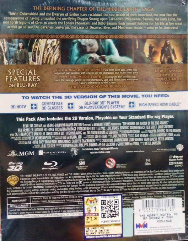 English Movie The Hobbit The Battle Of The Five Armies Blu-ray 3D
