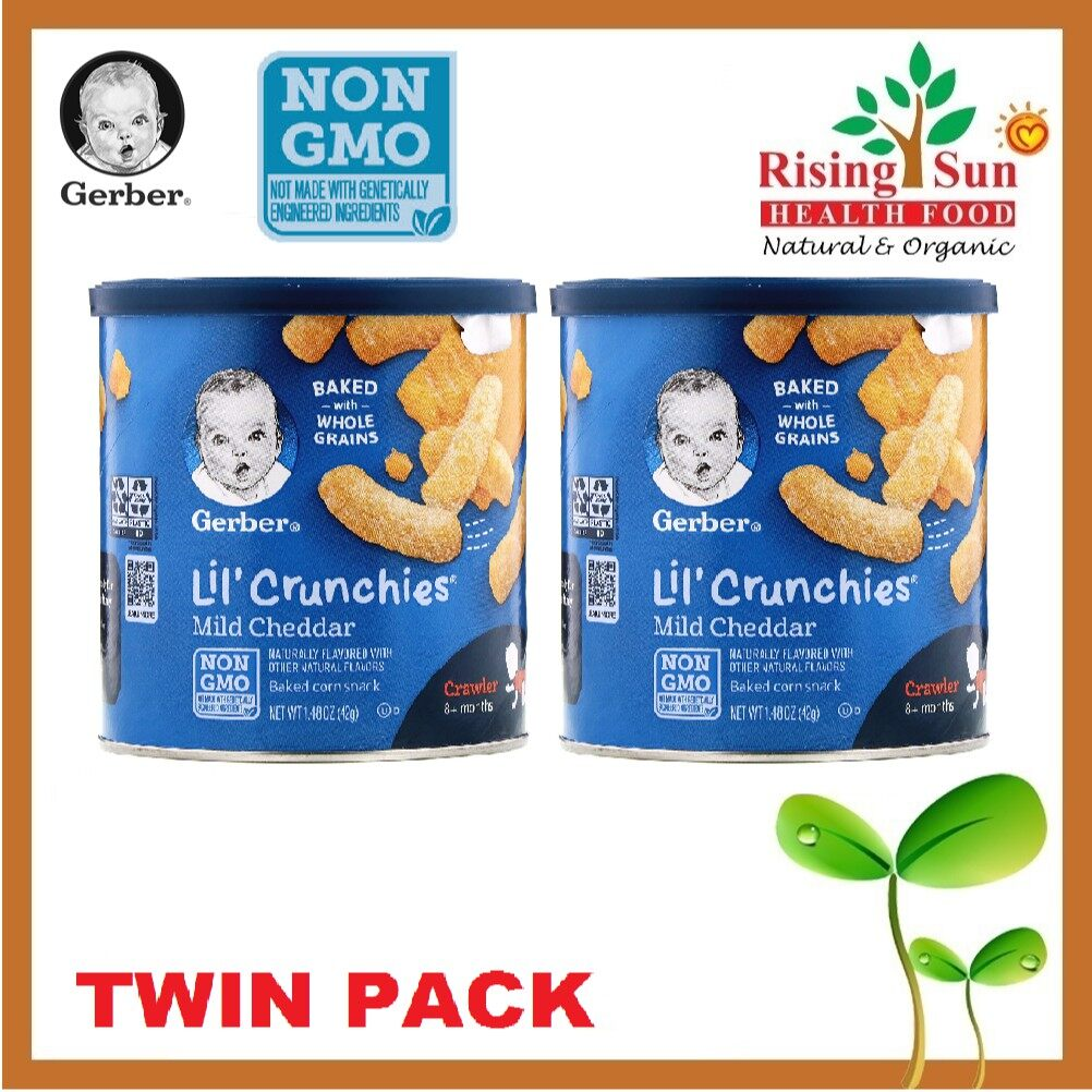 Gerber Lil Crunchies Baked Corn Snack Mild Cheddar (42g / 1.48 OZ x 2) - TWIN PACK