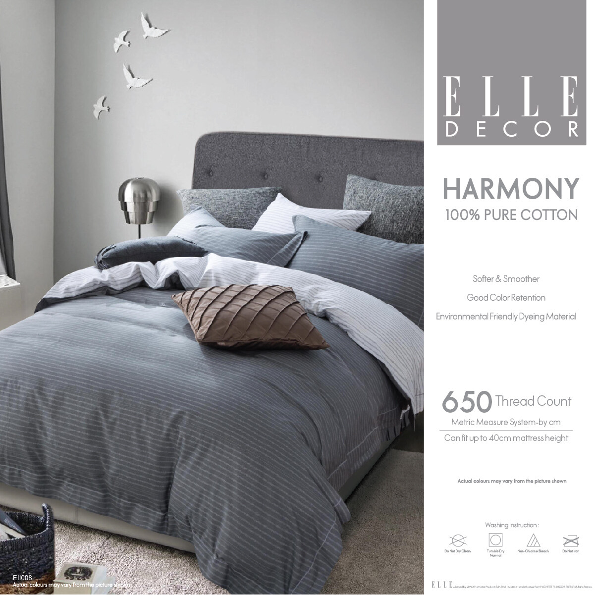 [100% Pure Cotton] ELLE Decor Harmony Collection Fitted Bed sheet Set Supreme High Quality Cadar 100%Cotton Super Single / Queen / King
