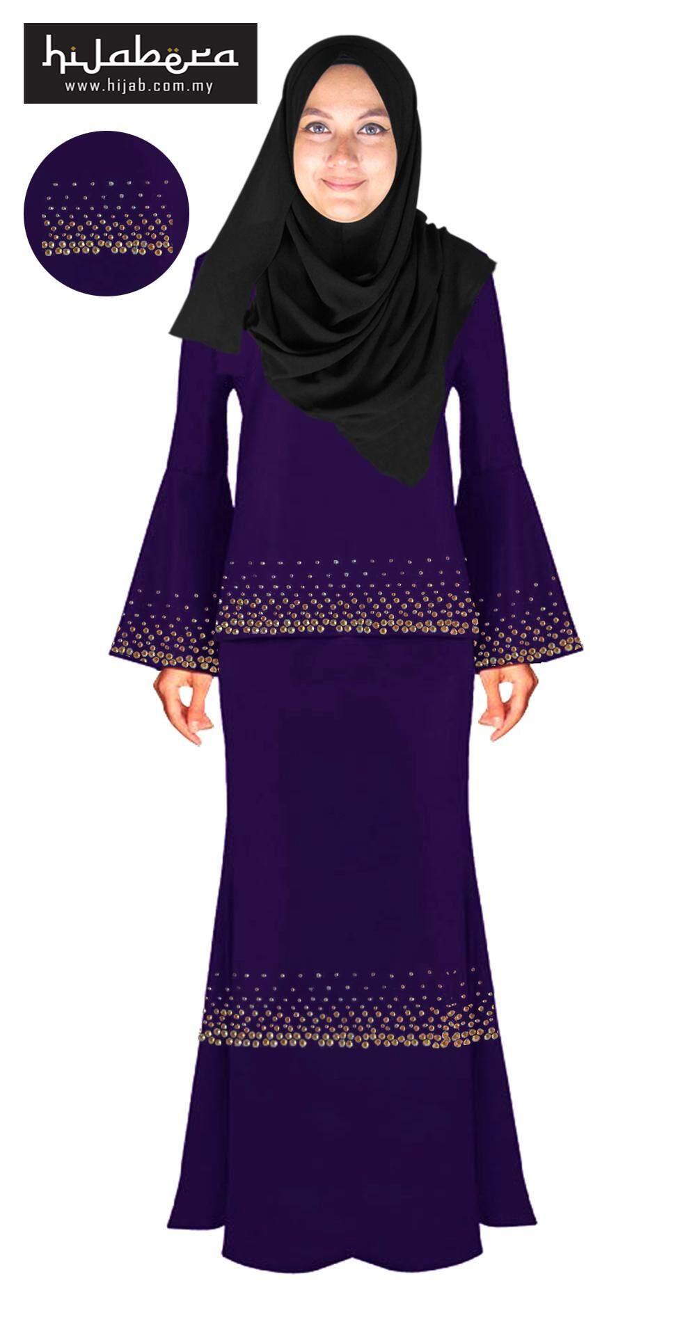 Baju Kurung Moden with Double Line Crystal Design -Chandni-Purple