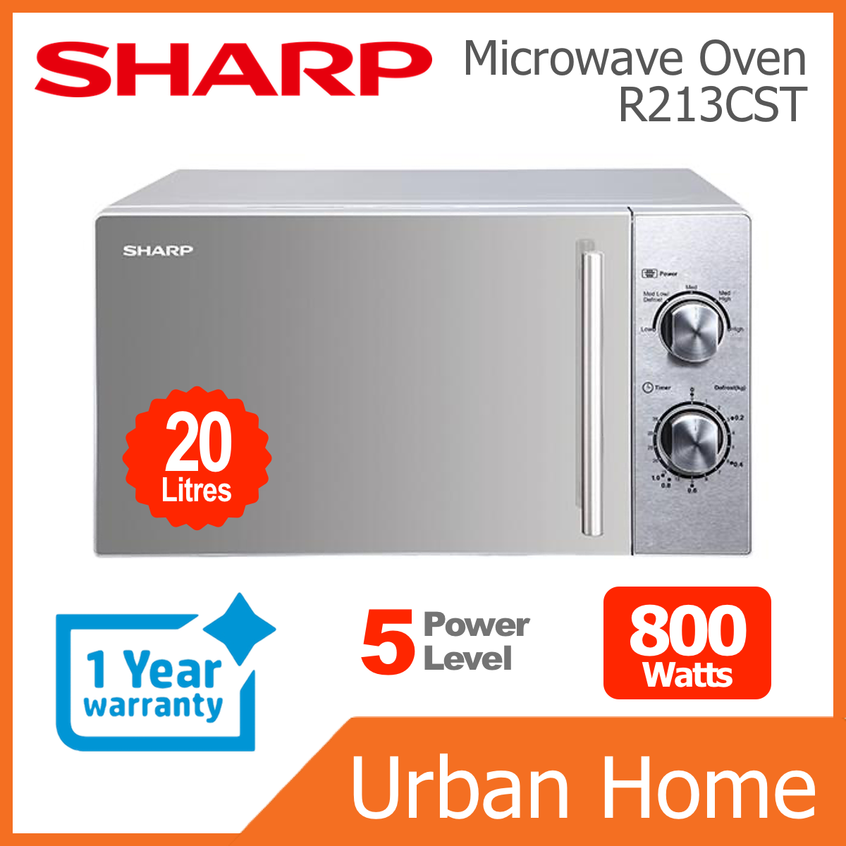 SHARP 20L 800w Mechanical Microwave Oven (R213CST)