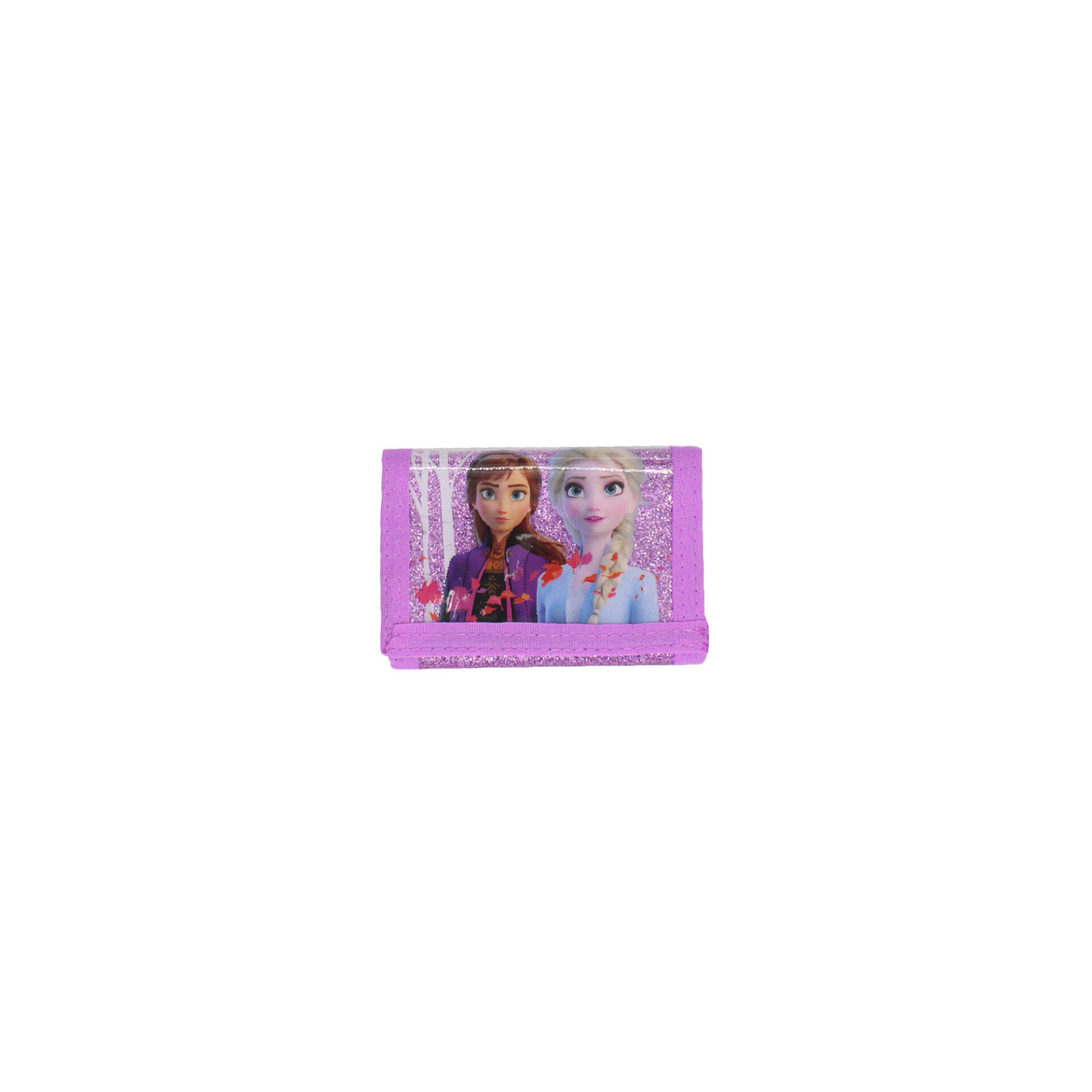 Disney Frozen 2 Princess Elsa & Anna Glitter Velcro Wallet For Girls (Purple)