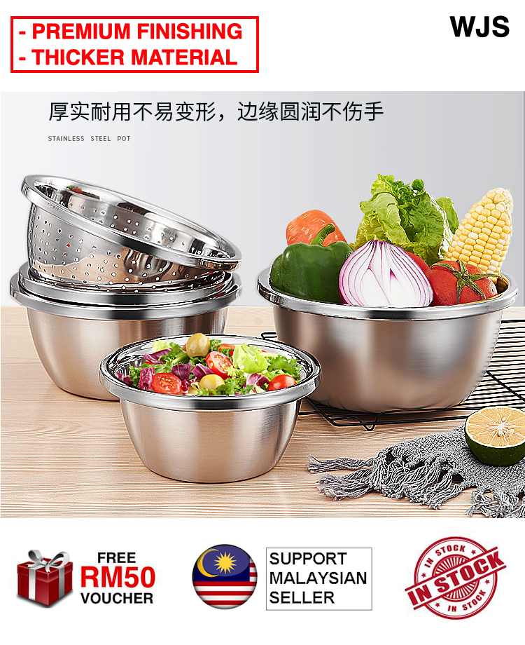 (PREMIUM THICK VERSION) WJS Premium Thick Stainless Steel Bowl Deep Mixing Bowl Salad Bowl Kitchen Utensil Fine Dining Bowl Mangkuk Besi Piring Plate Metal Plate 18CM to 28CM SILVER MULTISIZE [FREE RM 50 VOUCHER]