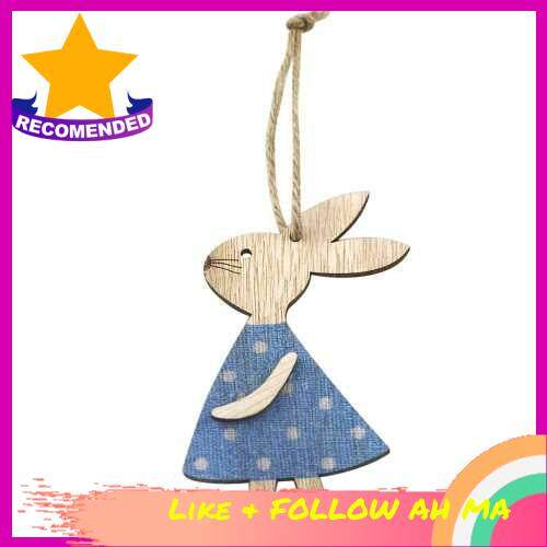 Best Selling Wooden Bunny Pendant Decor DIY Hanging Craft Cute Bunny Easter Ornament Party Supplies (Blue)