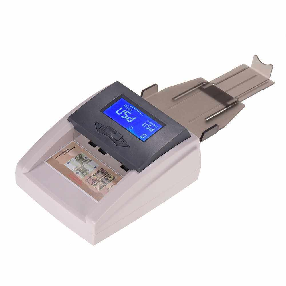 Portable Desktop Multi-Currency Countable Automatic Money Detector Counterfeit Cash Currency Banknote Checker Tester with LCD Display Denomination Value for EURO USD (Grey)