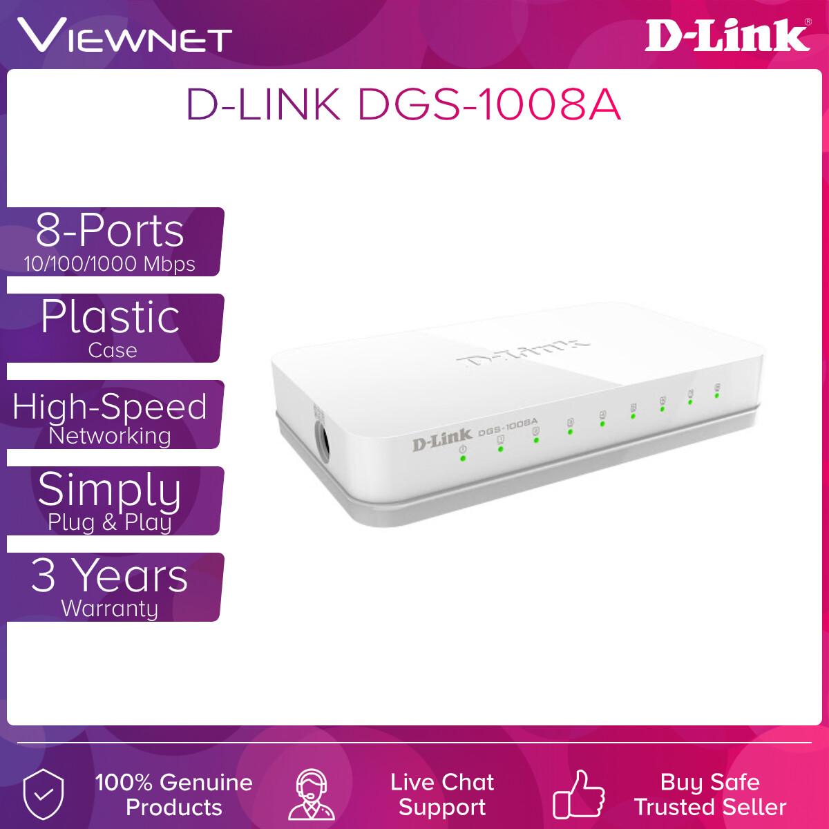 D-Link DGS-1008A 8-Port Unmanaged Gigabit Desktop Switch In Plastic Casing
