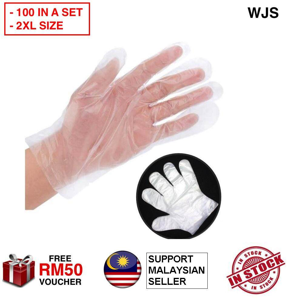 (XL SIZE TO FIT ALL HAND) WJS 200pcs 200 pcs Top Disposable Glove PE Transparent Plastic Disposable Film Finger Gloves Top Gloves Quality Painting Glove Hygiene Gloves Waterproof Food Gloves TRANSPARENT [FREE RM 50 VOUCHER]