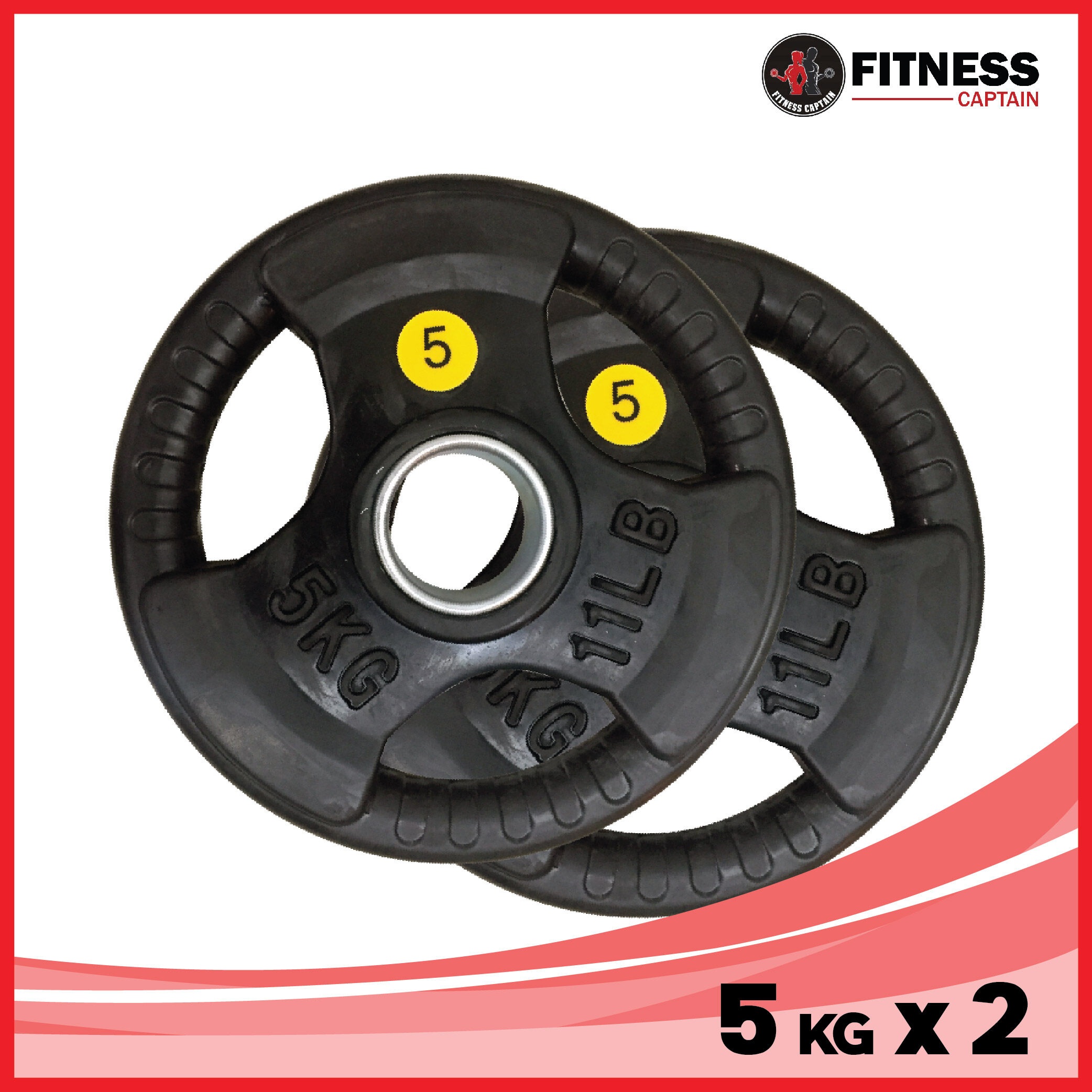 Fitness Captain 2 ( 2 x 5kg ) Gym Olympic Rubber Weight Plate 5kg Set of 2 ( 2 x 5kg )