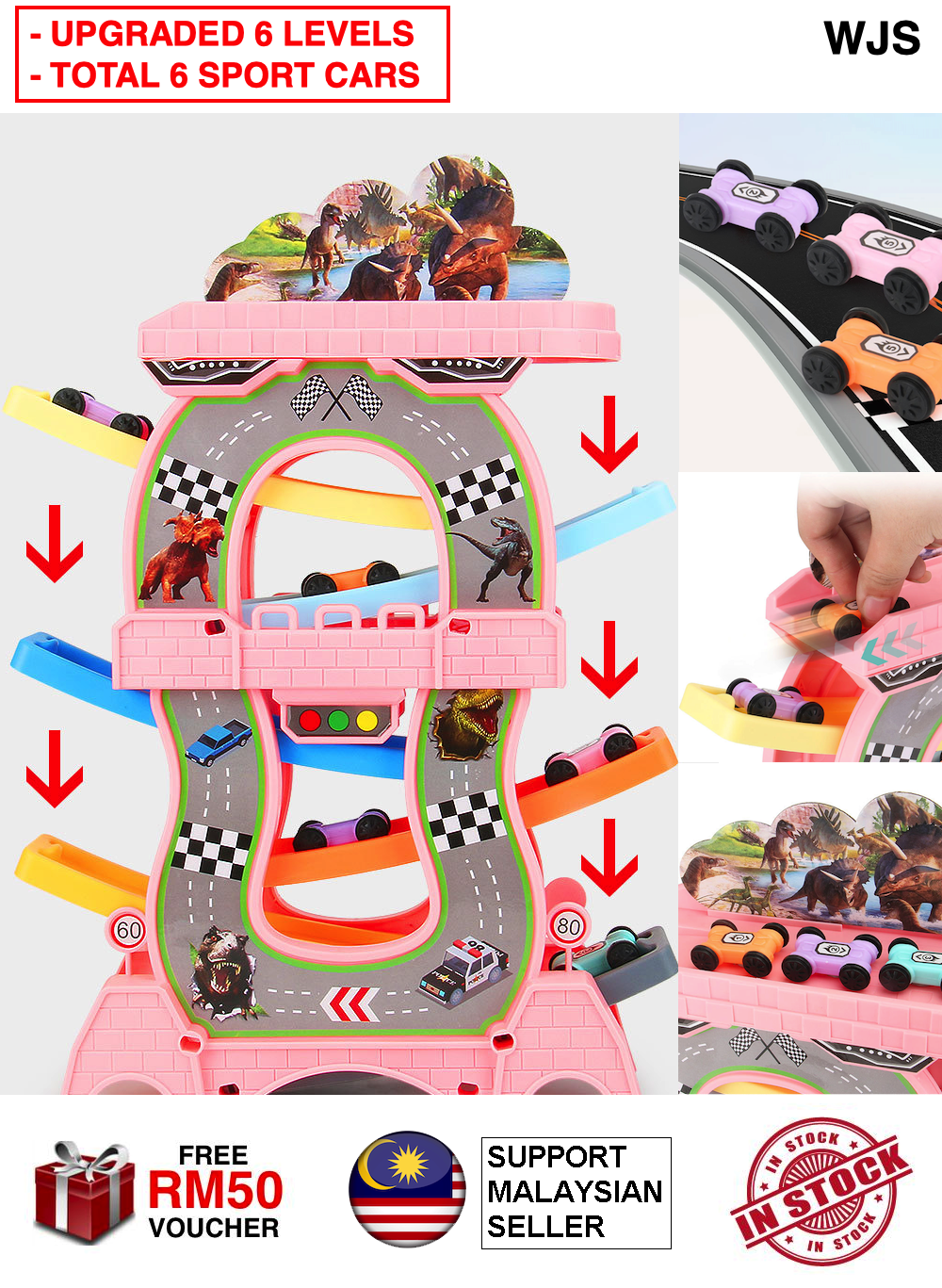 (6 LEVELS + 6 CARS) WJS Gliding Car Ladder Track Car Toys Children 4 Level Sliding Track Game Kids & Baby Early Learning Educational Toy Car Track Cars Kereta Lumba PINK TURQUOISE [FREE RM 50 VOUCHER]