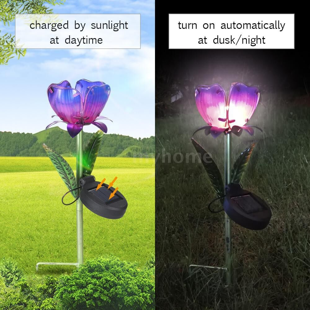 Outdoor Lighting - Solar Powered Flower Light LEDs Lawn Lamp Decorative Stake Lantern IP55 Water-resistant Outdoor - YELLOW-WARM WHITE / PURPLE-WARM WHITE