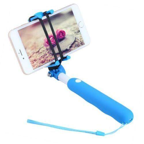 NOOSY BR09 MINI WIRELESS HANDHELD BLUETOOTH 3.0 SELFIE SELF-TIMER MONOPOD FOR SMARTPHONE WITH SAFETY BELT SMART SHOOTING AID (BLUE)
