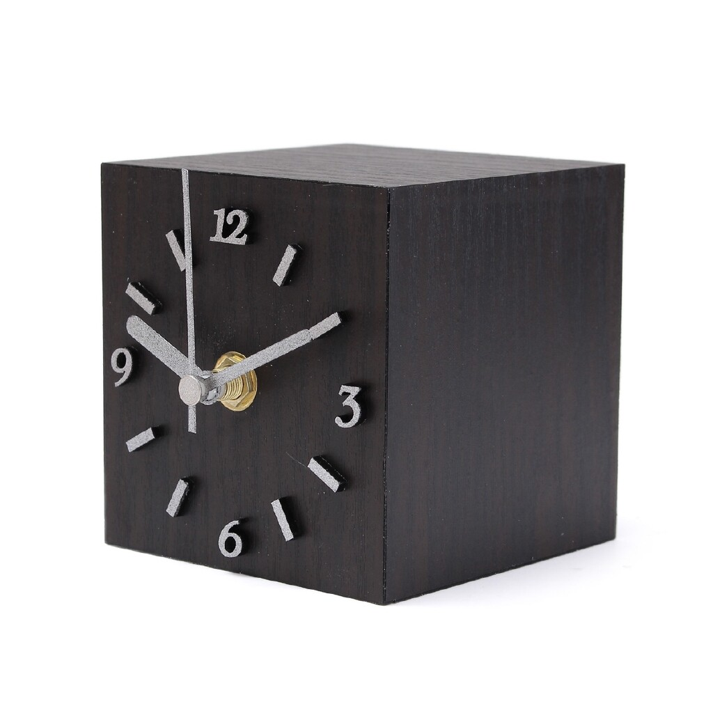 Mirrors & Wall Art - Wooden Cube Table Desktop Clock Home Office Decoration Craft Gift - BROWN / BLACK