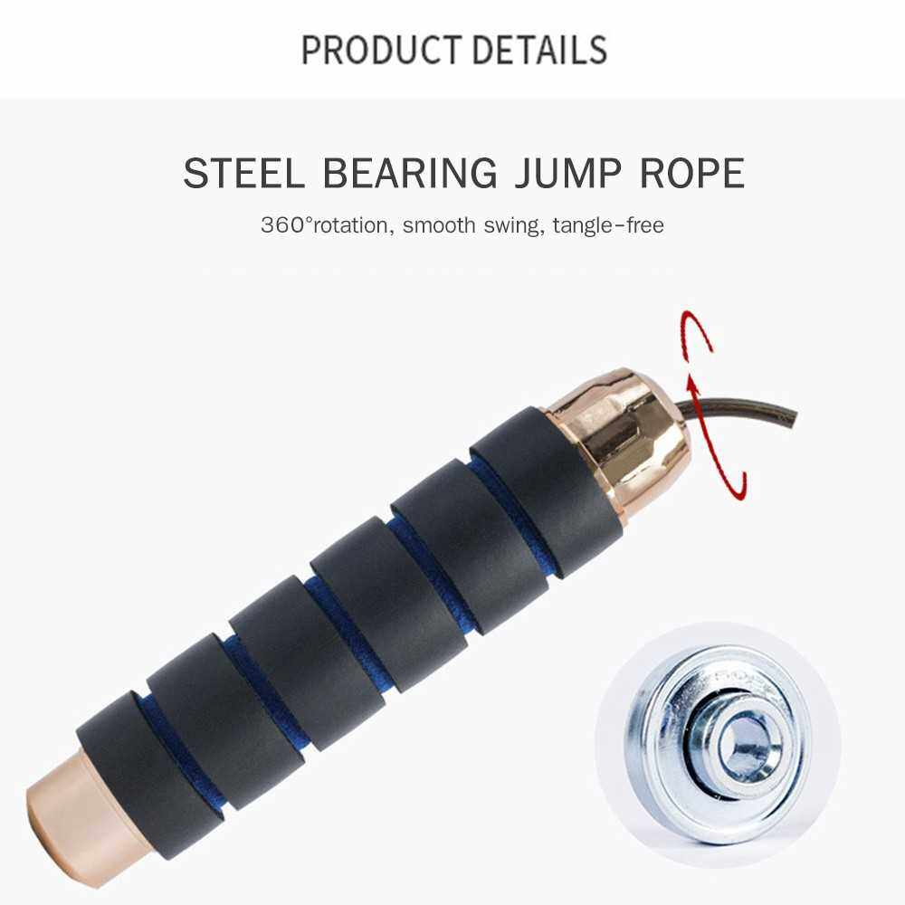 Best Selling Adjustable Length Skipping Rope Fine Steel Bearing Jump Rope Heavy-Duty Cable Foam Handle Weighted Skipping Rope for Fitness Training Exercise (Black&Blue)