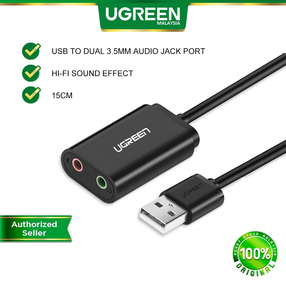 UGREEN 15CM USB Audio Adapter External Stereo Sound Card AUX With 3.5mm Headphone And Microphone Jack For Windows Mac Linux PC Laptops Desktops PS4 Pro ( Black )
