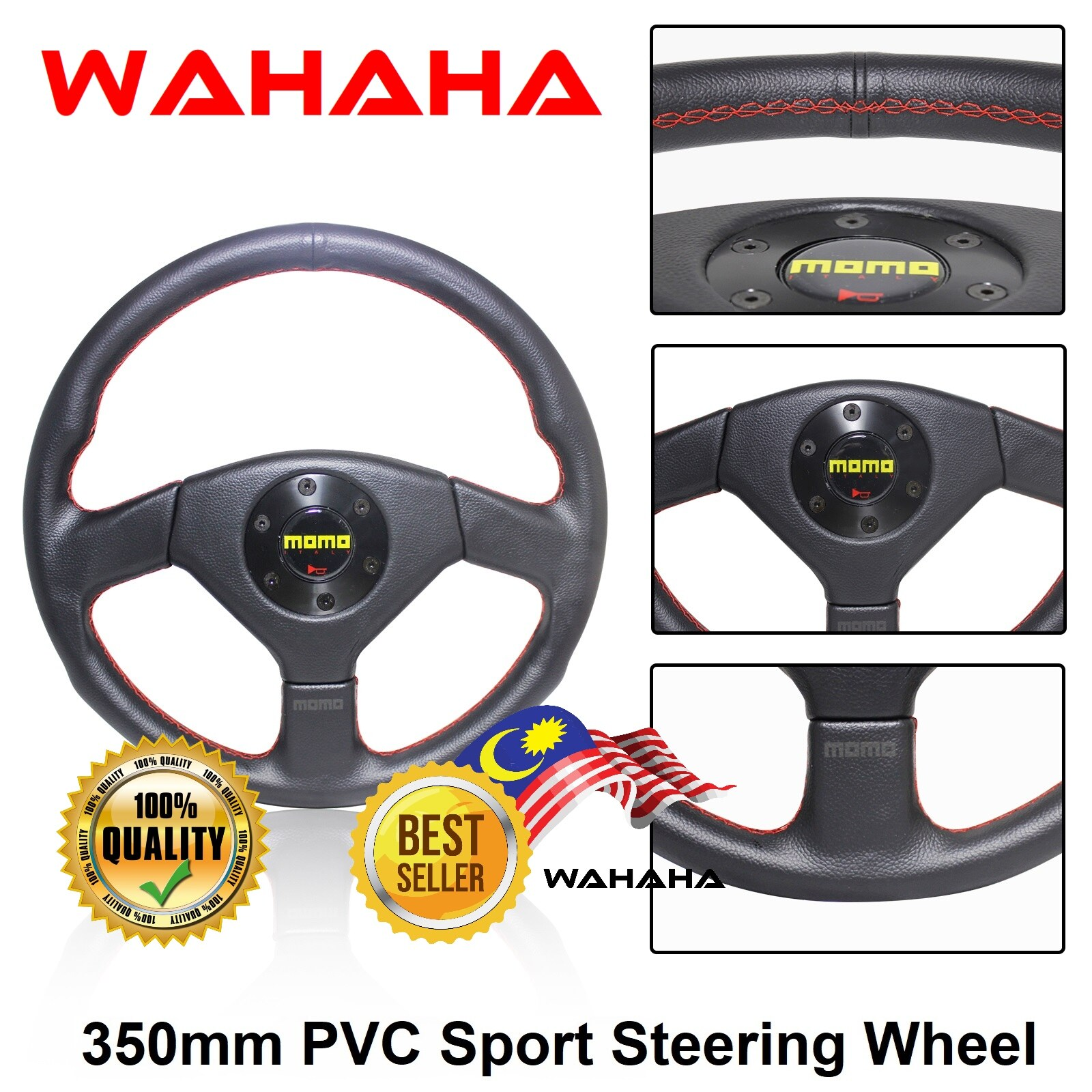 NEW 5137 EVO 3 350mm Black PVC Red Stitches Dished Racing Car Sport Steering Wheel