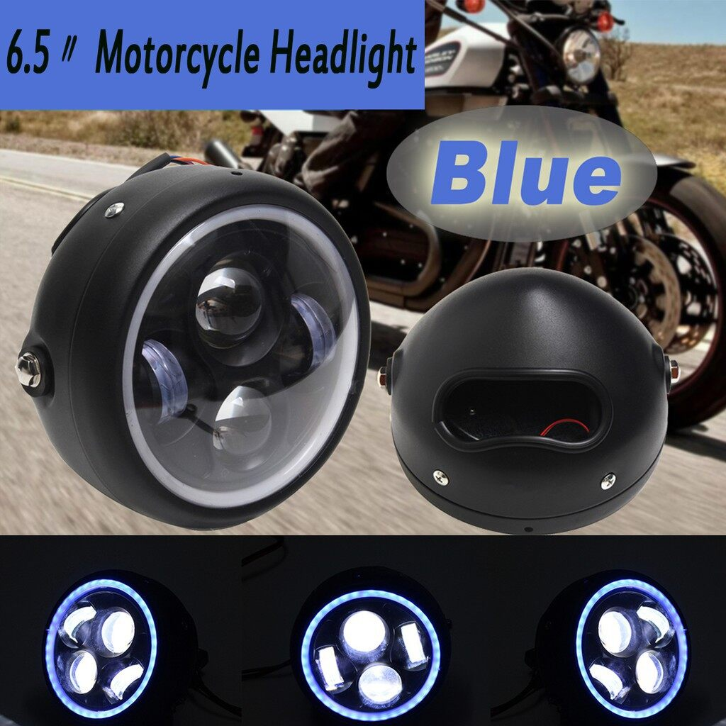 Moto Accessories - Motorcycle LED An Eye High Low Beam Harley Headlight Lamp Universal 4 Colors - YELLOW / WHITE / GREEN / RED / BLUE