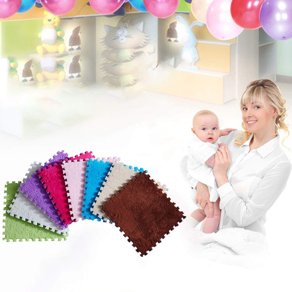 Thicken Bedroom Mat Kids Carpet Foam Puzzle Mat Shaggy Velvet Floor Mat for Kids
