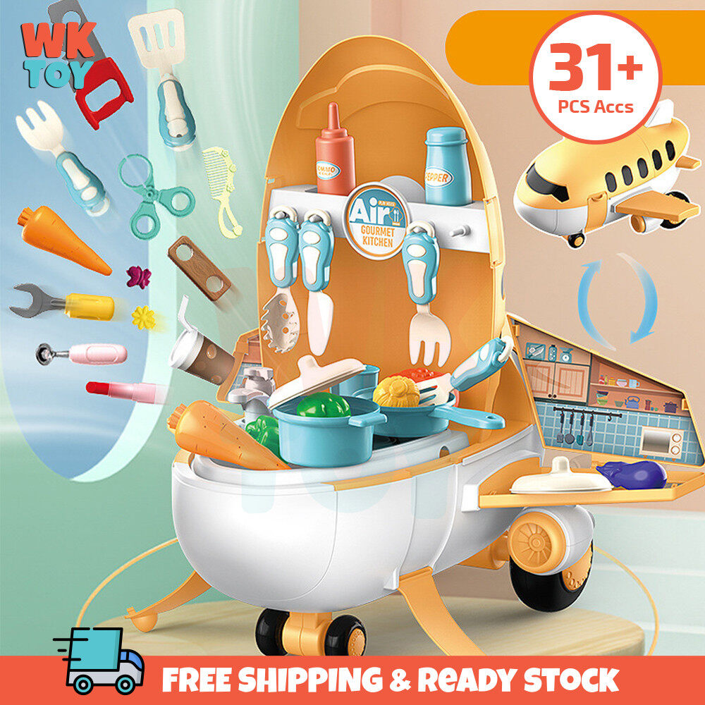 WKTOY 2 in 1 Pretend Play Kitchen Supermarket Makeup Tools Airplane Aeroplane Playset Educational Kids Toys