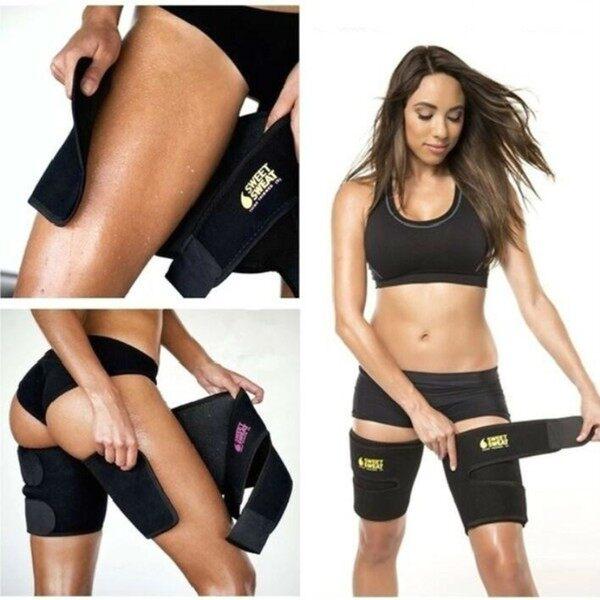 Men and women leg shaper sauna sweat thigh adjustable leggings weight loss hot neoprene compression belt sports knee pad