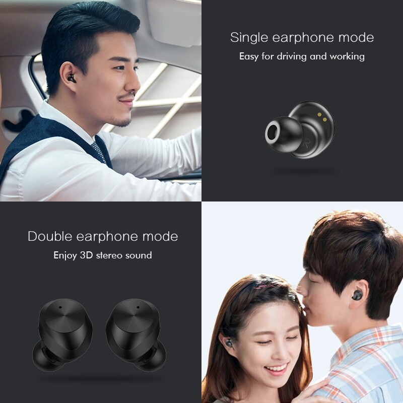 On-Ear Headphones - True WIRELESS BLUETOOTH V5.0 Earbuds Touch Control Earphone Charging Box - BLACK / BLUE / WHITE / RED