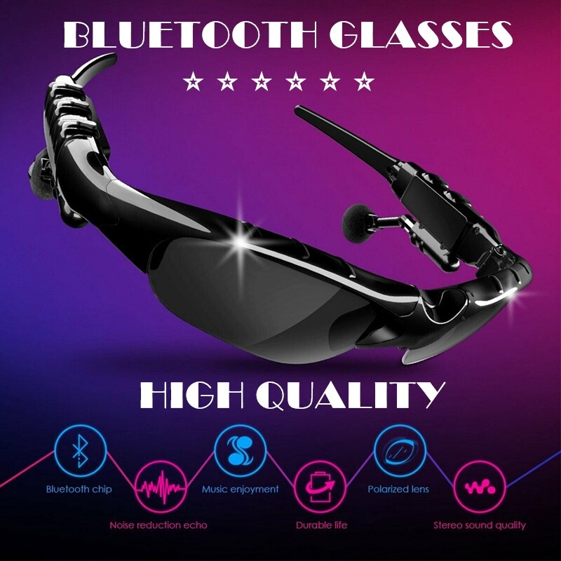 Smart BLUETOOTH 5.0 Sunglasses WIRELESS Glasses Headphone Head SET Car Driving Polarized Sports - BLACK / WHITE / CLEAR