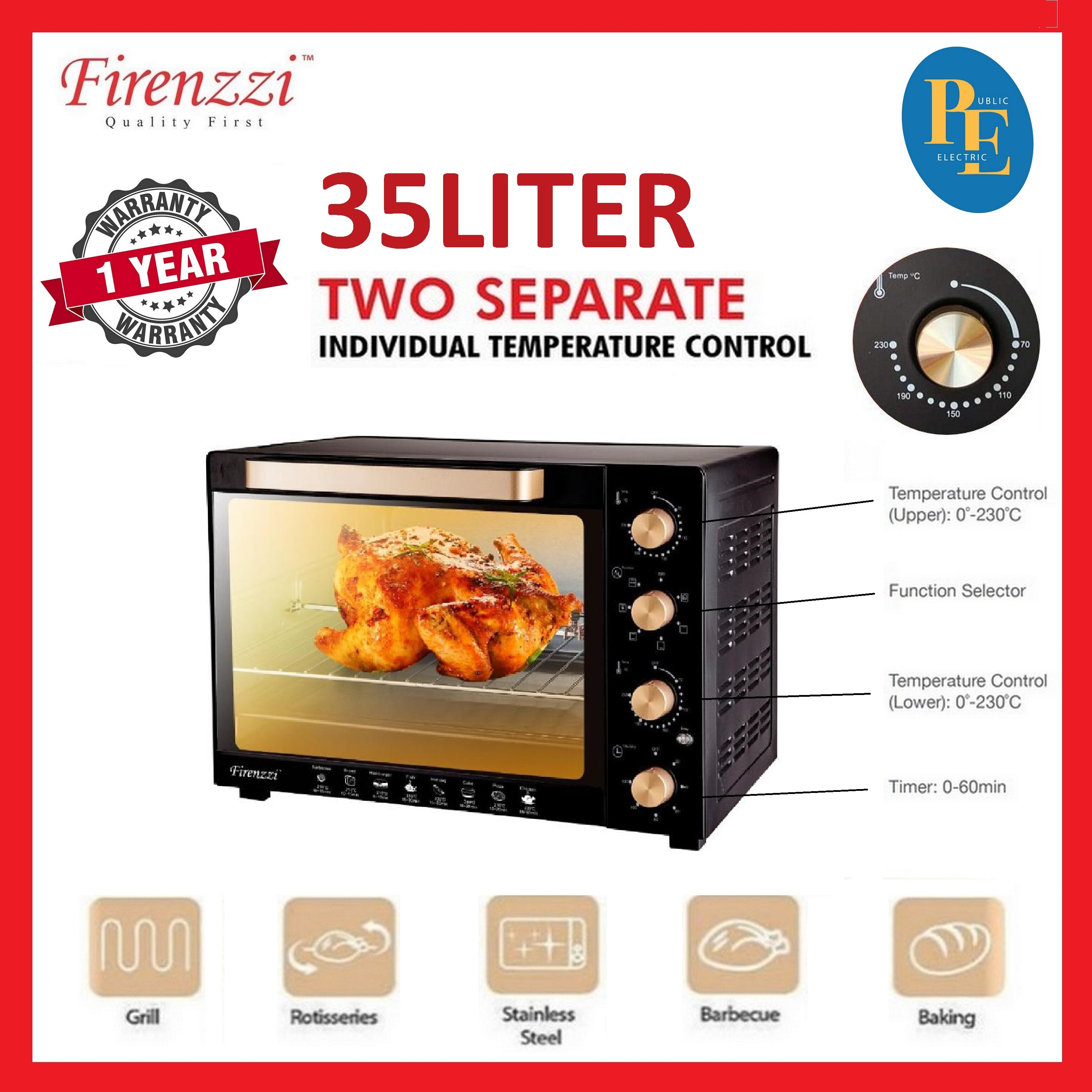 Firenzzi Separate Temperature Control Electric Oven 35Liters - TO-3035