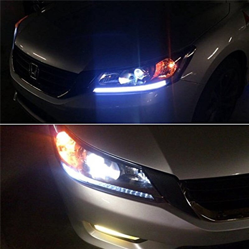 Car Lights - 2X Waterproof ULTRA Slim Switchback Car Turn Signal Amber&White DRL Lights Strip - Replacement Parts
