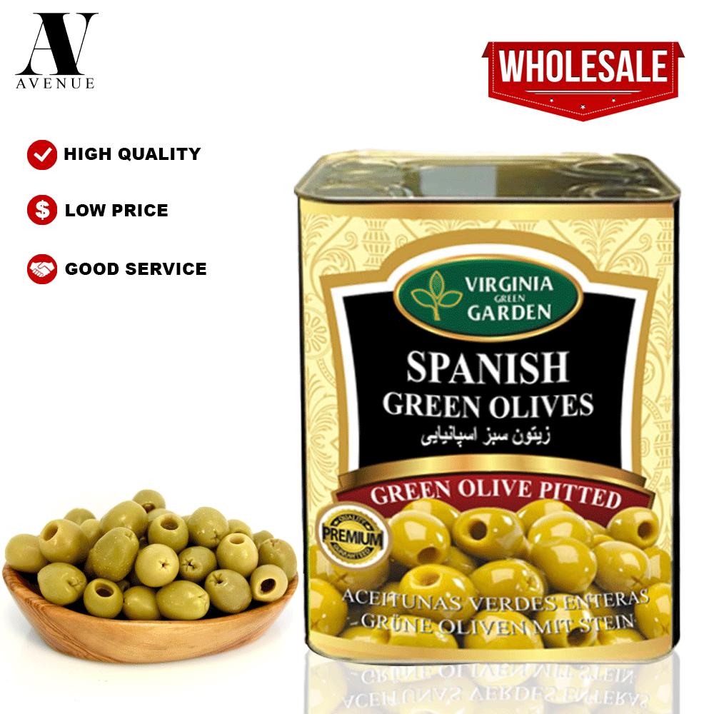 Virginia Green Garden Pitted Green Olives 4 kg زيتون أخضر مخلي