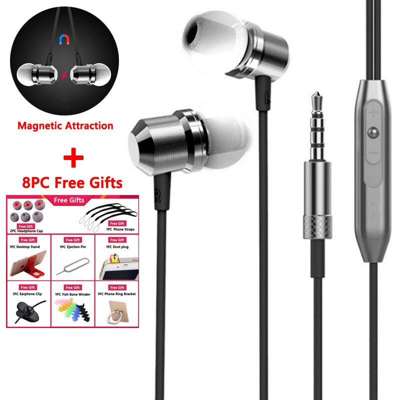 Earphone Metal Bass In-ear Wire Control with Micro Magetic Headphone Android - BLACK / GOLD / SILVER / ROSE GOLD