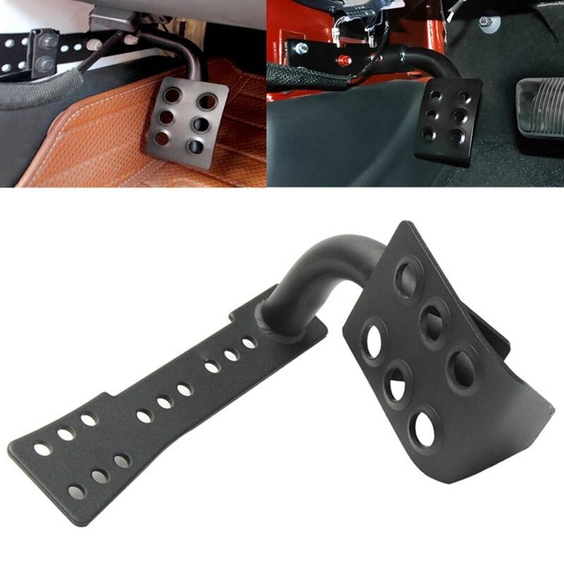 Car Lights - Black Metal Dead Pedal Left Side Foot Rest Kick Panel Only for Jeep Wrangler JK - Replacement Parts