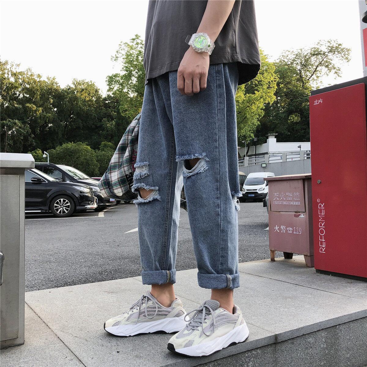(PRE ORDER) MEN JEANS KOREAN LOOSE STRAIGHT BEGGAR PANTS